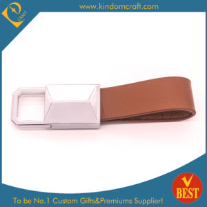 China Factory Price High Quality Brown Genuine Leather Key Chain with Customized Logo pictures & photos