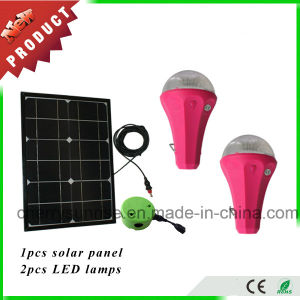 Portable Solar Home Lighting System Mobile Phone Charging 2 Light Solar Kit with 9W Solar Panel pictures & photos