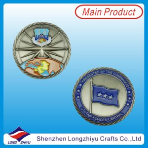 Challenge Commemorative Embossed Logo Enamel Flag Coins Antique Silver Medallion Badges (LZY100008) pictures & photos