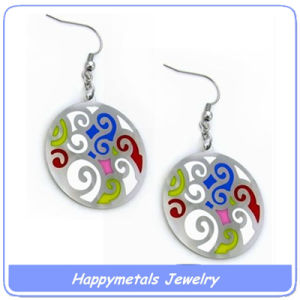 Stainless Steel Flat Drop Earrings with Colorful Laser Flower (E10030-1)
