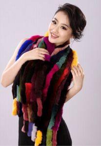 Winter Rex Rabbit Hair Color Block Muffler Scarf Fur Scarf Thermal Female Rabbit Fur Shawl pictures & photos