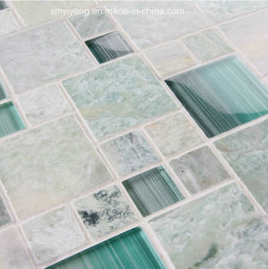 Green Granite and Glass Stone Mosaic Tile for Background Wall pictures & photos