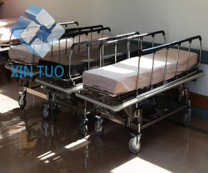 Folding Adjustable Horizontal Lathe Emergency Trolley for Patient pictures & photos