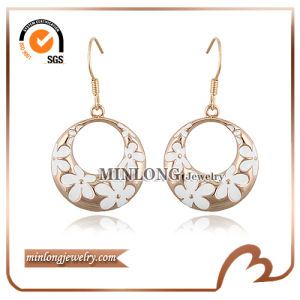 White Enamel Hoop Earrings (ED-1134)