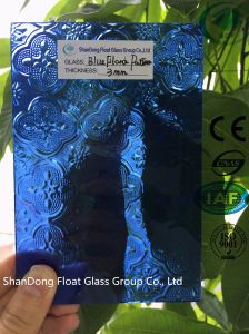Blue Flora Patterned Glass with Ce, ISO (3-8mm) pictures & photos
