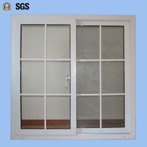 Double Glass with Grid White Colour UPVC Profile Sliding Window K02032 pictures & photos