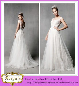 New Elegant Charming Cap Sleeve Lace Tulle Boat Neck Beaded Floor Length Wedding Dresses 2014 Bridal Yj0035