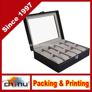 Grids Watch Display Jewelry Case Box Storage Holder Leather, Glass Top Jewelry Case (140068) pictures & photos