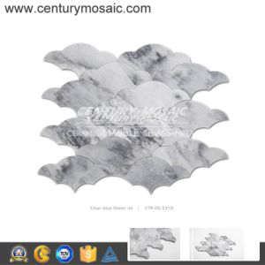 Century Fan-Shaped Water Jet Cesar Blue Marble Mosaic Tiles