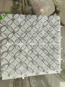 Flower Pattern Water Jet Arabesque Bianco Carrara White Marble Stone Backsplash Mosaic Tile pictures & photos