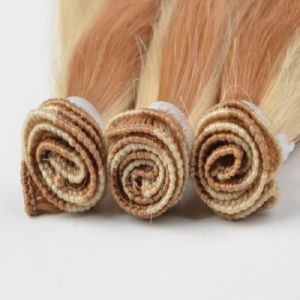 Piano Color Hand Tied Human Hair Weft Extension pictures & photos