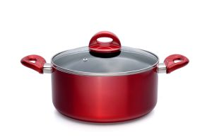 Wine Red Nonstick Sauce Pot with Lid