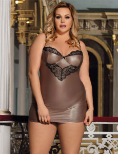 in Stock Plus Size Sexy Lingerie Glamorous Leather Chemise pictures & photos