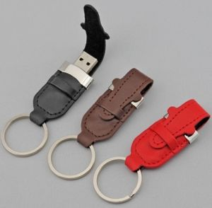Leather USB Flash Drive 1GB with Key Ring 16g 8g 4G (TF-0251) pictures & photos