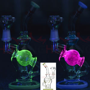 Hbking Glow at UV Light Recycler Small Size 8inch 10inch Glass Water Pipe Smoking Pipe pictures & photos