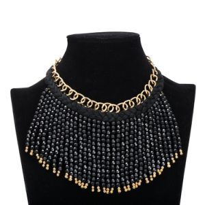 Gold Plated Fashion Handmade Black Bead Pendant Necklace Jewelry pictures & photos