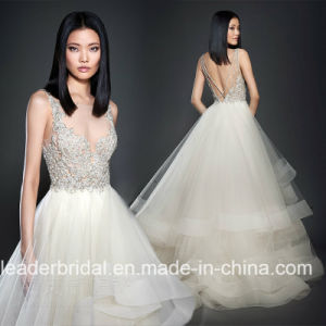 Lace Bridal Gown Crystal Bodice Ruffles Tulle Wedding Dress 2018 C2169 pictures & photos