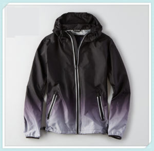 Mens 100% Polyester DIP Dye Unlined Windbreaker Hooded Jacket Water Resistant Reflective Zipper up Jacket pictures & photos