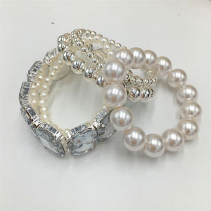 Wholesale White Beads Bracelet with Glass Stone on The Elastic pictures & photos