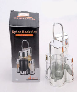 Transparent 4-PCS Soy Sauce Bottle Spice Rack Set (CS-053) pictures & photos