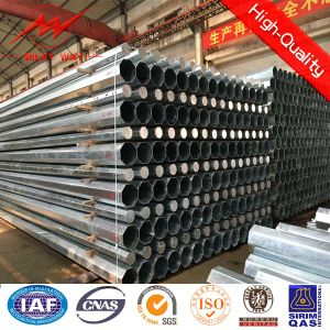 Galvanized Power Transmission Steel Pole with Steel Cross Arm pictures & photos