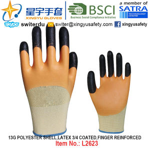 13G Polyester Shell Latex 3/4 Coated, Finger Reinforced Gloves (L2623) with CE, En388, En420, Work Gloves pictures & photos