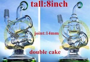 Mini Recycler Double Cake Recycler Smoking Glass Water Pipe pictures & photos