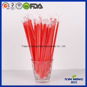 Film Wrapped Red Straw, Disposable Plastic Drinking Straw pictures & photos