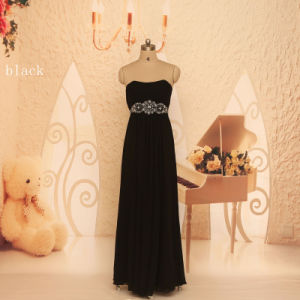 Real Wholesale Retail Beaded Waist Strapless Women Black Prom Dress Gowns Custom Made Floor Length Dress Party Evening Elegant