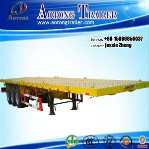 Flatbed Container Semi Trailer with Tri-Axle, Heavy Duty Flatbed Semi Trailer pictures & photos