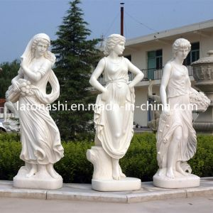 OEM White Marble Stone Carved Figure Sculpture Statue with Cross pictures & photos