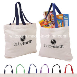 Cotton Canvas Tote Bag with Gusset & Color Accent Handles (Bag002) pictures & photos