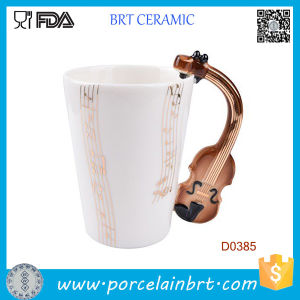 Violin Music Handle Fashion Musical Notes Tea Coffee Ceramic Mug pictures & photos