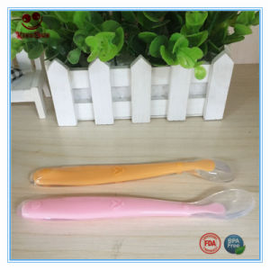 safety Silcone Flexible Spoon Cutlery Pink Color pictures & photos