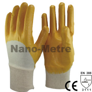 Nmsafety Cotton Interlock Yellow Nitrile Oil Industry Work Glove pictures & photos