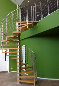 Modern Design Stainless Steel Spiral Staircase with Oak Wood Tread pictures & photos