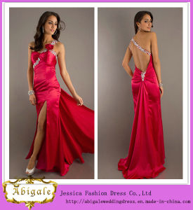 2014 New Sexy Mermaid Satin Red Backless One-Shoulder High Slit Beaded Maternity Prom Dresses Yj0065 pictures & photos