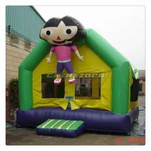 Happy Dora Cartoon Theme Inflatable Moonwalk Bounce House for Sale pictures & photos