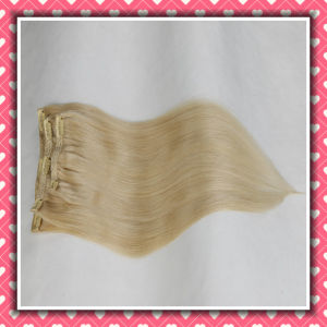 Brazilian Human Hair Clip-in Extensions Silky 18inches Blonde Color pictures & photos