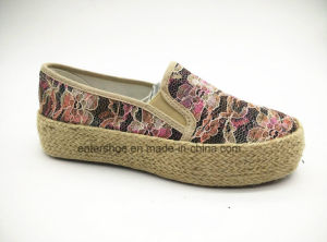New Style Fashion Women Jute Shoes with Floral Fabric (ET-FEK160113W) pictures & photos
