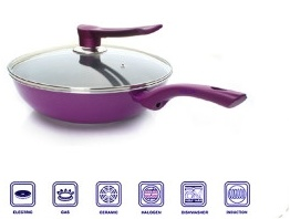 Aluminum Nonstrick Wok with Glass Lid