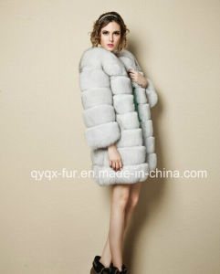 Fur Talk Genuine Women′s Fox Fur Coat Real Natural Fox Fur Jacket 80cm Coat Length