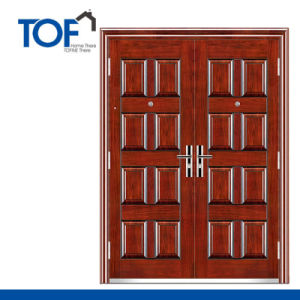 Decorated Exterior High Quality Steel Security Double Swing Door