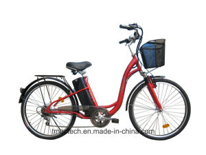 for Lady 250watt 24V 10 Ah with Shimano 6 Speed Outside CE Electric Bicycle pictures & photos