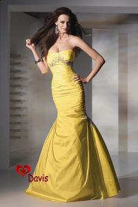 Yellow Mermaid Satin Prom Gown (PD-1622)