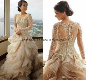 Sheer Long Sleeve Wedding Ball Gowns Applique Bridal Dresses Z2002 pictures & photos
