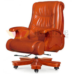 Wooden Genuine Orange Rotary Boss Office Executive Chair for Office Furniture pictures & photos
