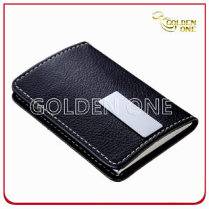Promotion Gift Black Genuine Leather Name Card Holder pictures & photos