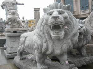 Stone Lion, Granite Carving, Animal Sculpture