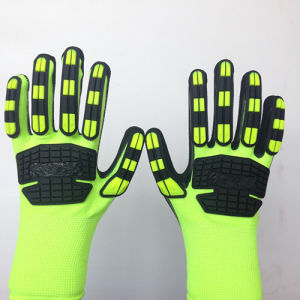 Sandy Nitrile Coated High Elastic Poly Safety Gloves with TPR Sewing